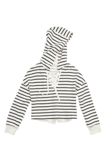 Girl's Maddie Stripe Crop Hooded Sweatshirt With Back Ruffle