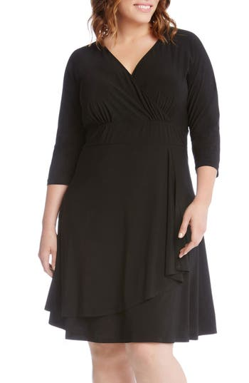 Plus Size Women's Karen Kane Jersey Cascade Faux Wrap Dress, Size 0X - Black