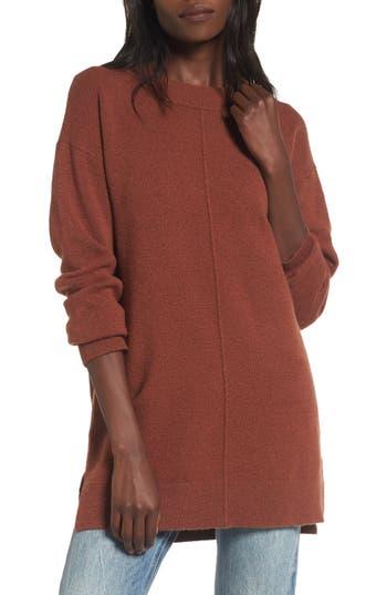Women's Bp. Seam Front Tunic Sweater, Size Medium - Brown