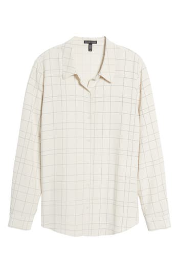 Women's Eileen Fisher Windowpane Classic Collar Shirt