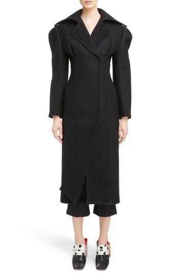 Women's Jacquemus Oversize Lapel Wool Coat, Size 4 US / 36 FR - Black