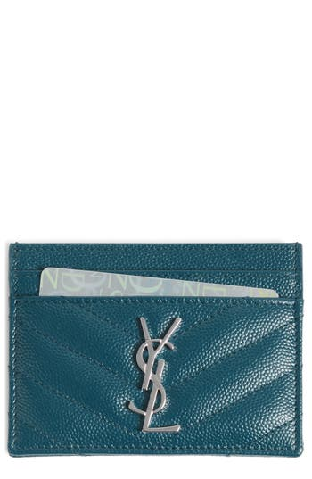 Women's Saint Laurent 'Monogram' Credit Card Case - Green