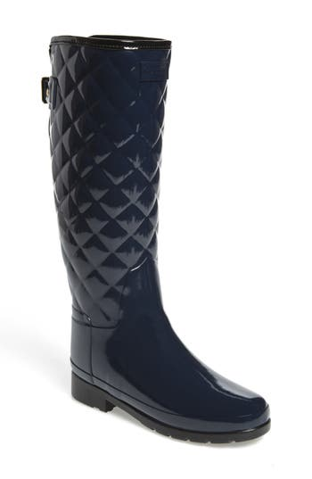 Hunter Original Refined High Gloss Quilted Rain Boot, Blue