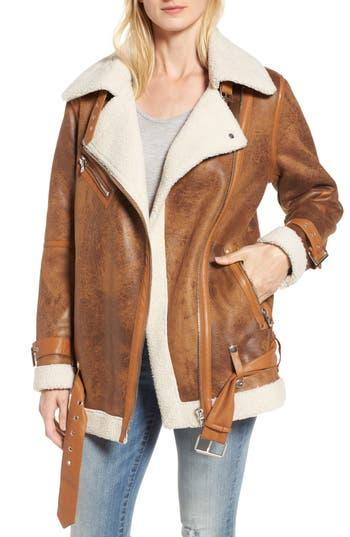 Women's Avec Les Filles Faux Shearling Biker Jacket, Size Medium - Brown
