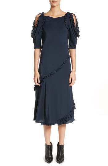Burberry Didi Ruffle Silk Dress, Blue