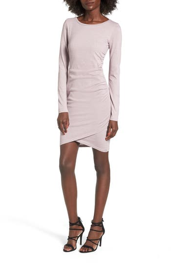 Leith Ruched Long Sleeve Dress, Purple