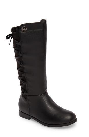 Girl's Michael Michael Kors Emma Venon Ribboned Riding Boot, Size 13 M - Black
