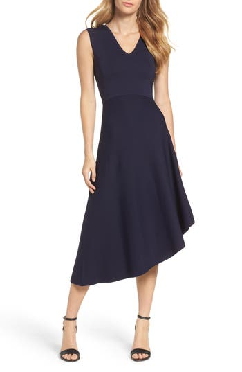 Eliza J Knit Asymmetric Midi Dress, Blue