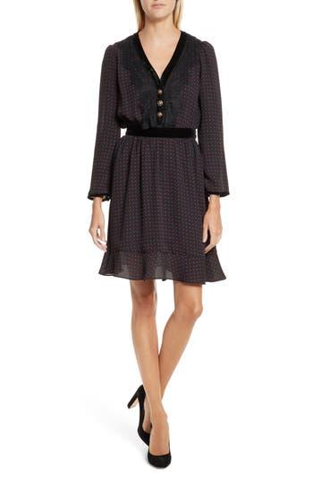 Women's The Kooples Lace Trim Polka Dot Print Dress, Size X-Small - Black