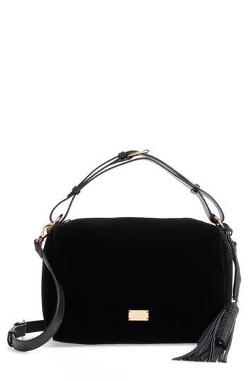 Frances Valentine Small Boxy Velvet & Leather Satchel - Black