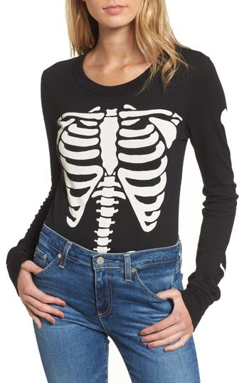 Women's Wildfox X-Ray Vision Bodysuit, Size X-Small - Black