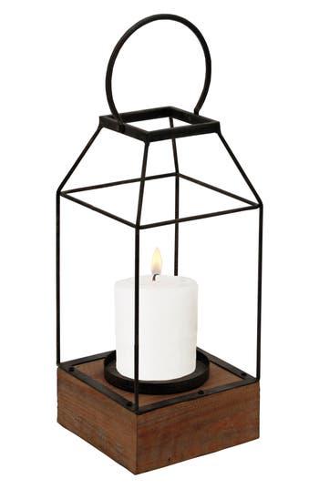 Foreside Lantern Pillar Candle Holder, Brown