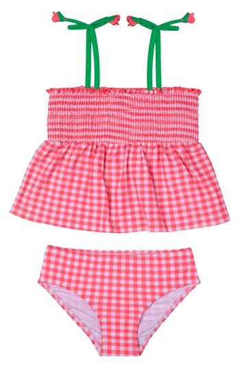 Girl's Hula Star Picnic Gingham Two-Piece Swimsuit, Size 5 - Red