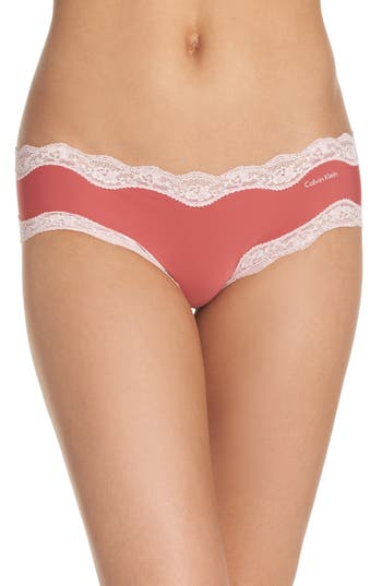 Women's Calvin Klein 'Invisibles' Hipster Briefs, Size Small - Coral