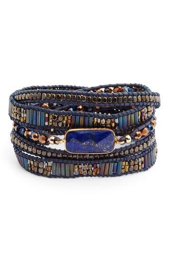 Women's Nakamol Design Lapis & Leather Wrap Bracelet