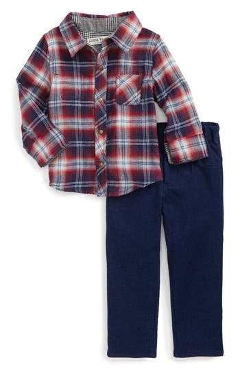 Toddler Boy's Little Brother By Pippa & Julie Plaid Top & Denim Pants