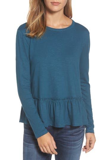 Women's Caslon Peplum Tee, Size X-Small - Blue