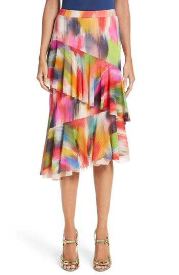 Women's Fuzzi Ruffle Print Tulle Midi Skirt, Size Medium - Red