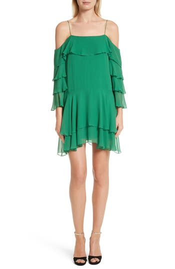 Women's Alice + Olivia Lexis Lyrd Silk Cold Shoulder Ruffle Dress, Size 0 - Green