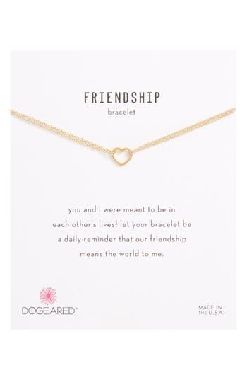 Dogeared FRIENDSHIP SMALL OPEN HEART CHARM CHAIN BRACELET