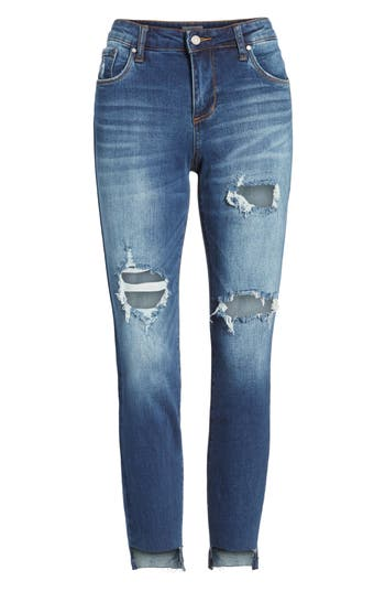 Women's Bp. Ripped Step Hem Skinny Jeans