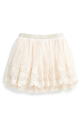 Girl's Truly Me Fancy Lace Skirt, Size 5 - Ivory