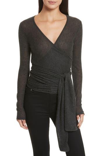 Women's Autumn Cashmere Cashmere Wrap Ballet Sweater, Size Medium - Grey