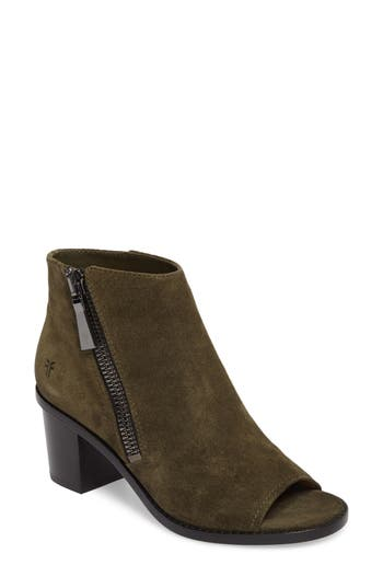 Frye Brielle Peep Toe Bootie- Green