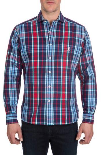 Men's Psycho Bunny Flannel Sport Shirt, Size Small - Blue