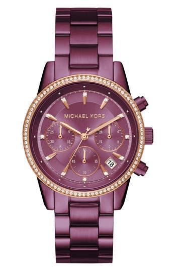 Women's Michael Kors Ritz Crystal Chronograph Bracelet Watch, 37Mm