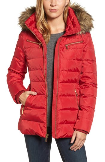 Michael Michael Kors Puffer Coat With Detachable Hood And Faux Fur Trim, Red
