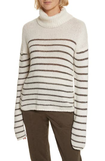 Women's A.l.c. Elisa Metallic Stripe Turtleneck Sweater, Size Large - White
