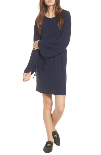 One Clothing Ruched Sleeve Sweater Dress, Blue