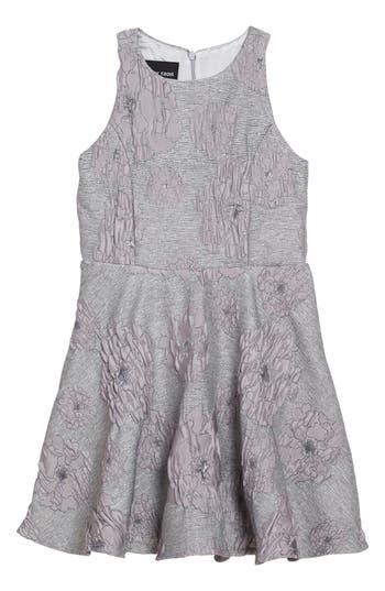 Girl's Un Deux Trois Flocked Jacquard Skater Dress