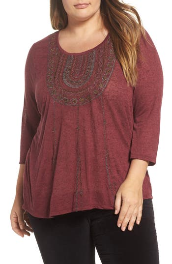 Plus Size Women's Lucky Brand Embroidered Bib Top, Size 1X - Burgundy