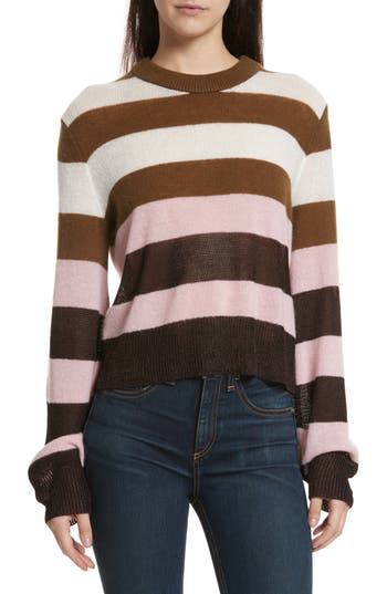 Women's Rag & Bone Annika Stripe Sweater, Size XX-Small - Pink
