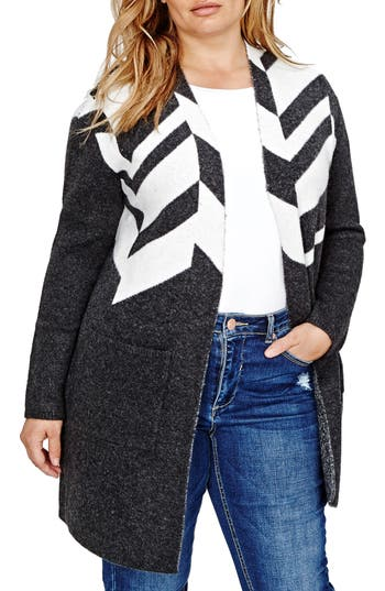 Plus Size Addition Elle Love And Legend Patterned Sweater Coat, Grey