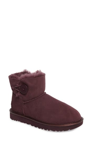 Women's Ugg Mini Bailey Button Ii Genuine Shearling Lined Boot, Size 6 M - Purple