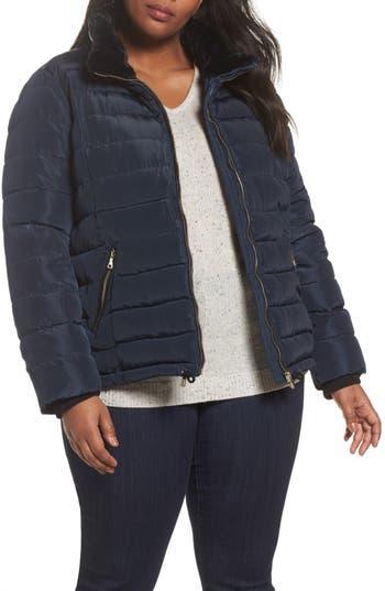 Plus Size Dorothy Perkins Faux Fur Trim Hooded Puffer Jacket, US / 18 UK - Blue