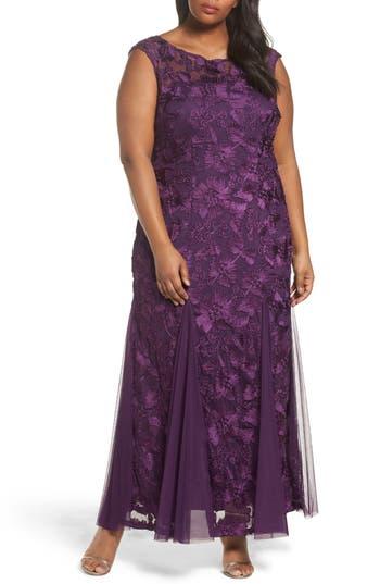 Plus Size Women's Alex Evenings Soutache Stretch Tulle A-Line Gown, Size 22W - Purple
