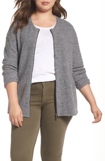 Plus Size Caslon Boucle Jacket, Grey