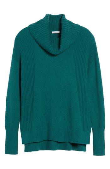 Petite Women's Caslon Cozy Rib Detail Relaxed Turtleneck, Size X-Small P - Green