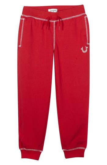 Boy's True Religion Brand Jeans Shoestring Sweatpants, Size 4 - Red