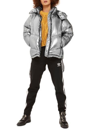 Women's Topshop Kubo Metallic Puffer Jacket, Size 2 US (fits like 0) - Metallic