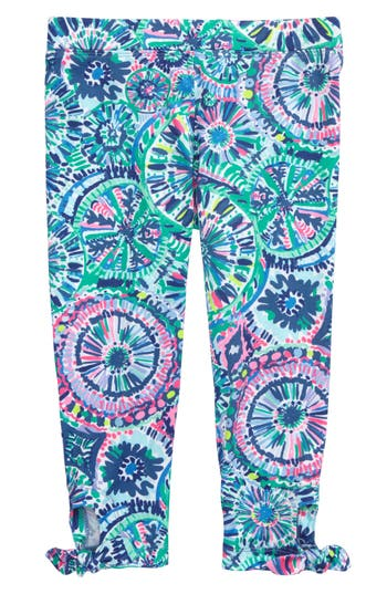 Girl's Lilly Pulitzer Maia Tie Crop Leggings, Size S (4-5) - Blue