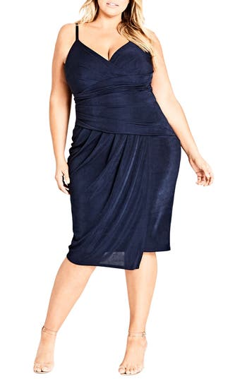 Plus Size Women's City Chic Hide And Seek Faux Wrap Dress, Size X-Small - Blue