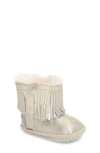 Toddler Girl's Ugg Branyon Genuine Shearling Fringe Metallic Bootie