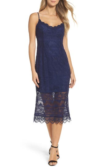 Women's Nsr Floral Lace Slipdress, Size Small - Blue