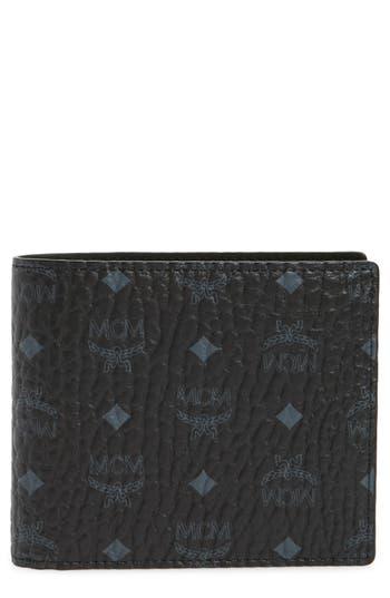 Mcm Logo Coated Canvas & Leather Wallet - Black