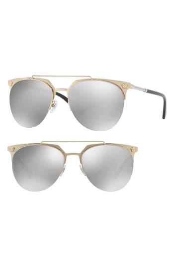 Women's Versace 57Mm Mirrored Semi-Rimless Sunglasses - Pale/ Gold